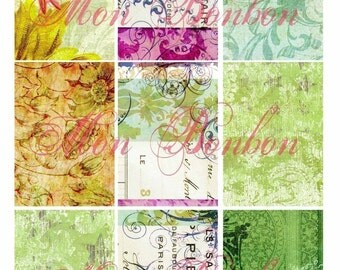Blue and Green Shabby Grungy Urban AtC Backgrounds Collage Sheet  No. 1103 - DIY Printable - INSTANT DOWNLOAD