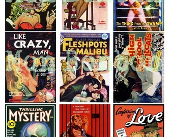 Vintage B Movies and Pulp Film Ads Digital Download Collage Sheet  ACEO ATC 2.5 x 3.5 Clip Art