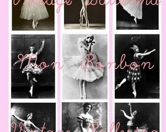 Vintage Ballerina ATC Digital Collage Sheet  2.5 x 3.5 sized-  Dance -  INSTANT DOWNLOAD