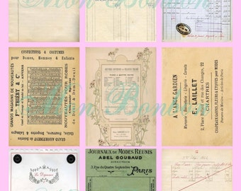 Digital French Vintage Ephemera ATC Backgrounds Collage Sheet  2.5 x 3.5  inches - INSTANT DOWNLOAD