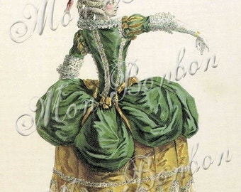 Digital Download of a 5x7 French Victorian Fashion Plate Print  - INSTANT DOWNLOAD