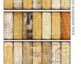 Digital Download of 21 Vintage Paper Backgrounds- Microscope Slide Size 1x3 inch - INSTANT DOWNLOAD