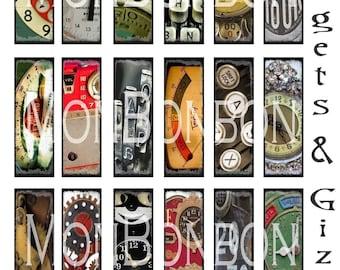 Digital Download Vintage Gadgets and Gizmos Microscope Slide Collage Sheet - DIY Printable - INSTANT DOWNLOAD