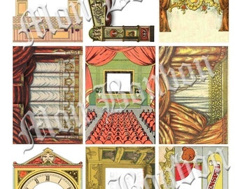 Digital Collage Sheet of Vintage Toy Theaters Stage Illustrations Backgrounds No. 126 - INSTANT DOWNLOAD
