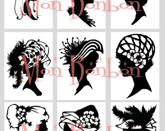 Digital Download Vintage Silhouettes Cameos of Ladies with Hats Collage Sheet ACEO ZNE Black and White