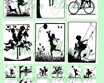 Children at Play Digital Collage Sheet of Silhouette Images and Scenes No. 129 - INSTANT DOWNLOAD