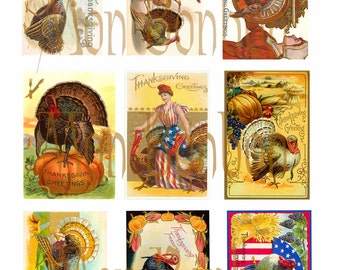 Digital Collage Sheet of Vintage Thanksgiving Greetings  - ATC Sized - INSTANT DOWNLOAD