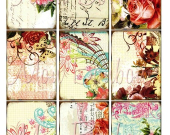 Sweet Floral Backgrounds Digital Collage Sheet for Download use with your paper crafts,altered art, atc, journals, scrapbooking, ephemera