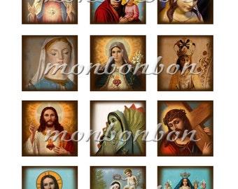 Digital Vintage Sacred Heart Jesus Mary Madonna 2x2 inch squares Collage Sheet  No. 130 - DIY Printable - INSTANT DOWNLOAD