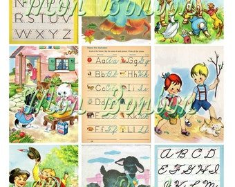 Digital Collage Sheet of Vintage and Retro School Days Childrens Books and Elementary Books Images- DiY Printables - INSTANT DOWNLOAD