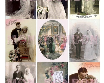 Digital Collage Sheet of Vintage Wedding Portrait Images- DIY Printable - INSTANT DOWNLOAD