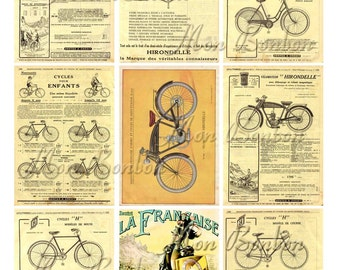 Digital Collage Sheet of Vintage French Bicycle Catalogue Pages and Images - INSTANT DOWNLOAD
