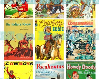Digital Collage Sheet of Vintage and Retro Cowboys and Indians Childrens Book Images - DiY Printables - INSTANT DOWNLOAD