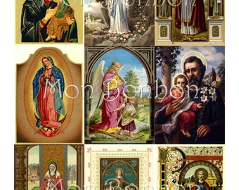 Vintage Religious Saints and Angels Digital Collage Sheet for Download- DIY Printable - INSTANT DOWNLOAD