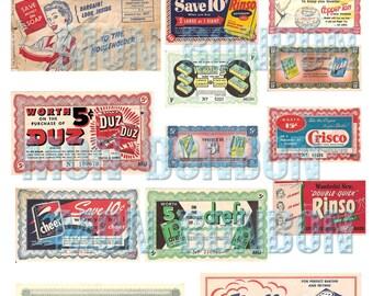 Vintage Retro Grocery Coupons Ephemera Digital Collage Sheet  - INSTANT DOWNLOAD