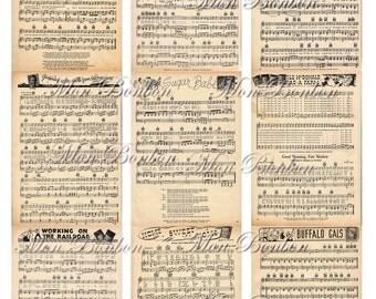 Digital Collage Sheet of Vintage 1930s Music Sheets  - INSTANT DOWNLOAD