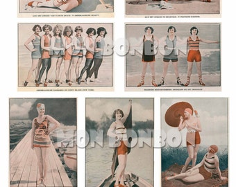 Vintage Beach Girl Photos perfect for your altered art projects, paper crafts, canvas art, digital, etc.  -  INSTANT DOWNLOAD