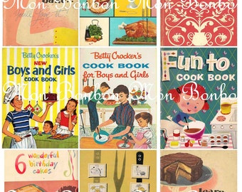 Vintage Retro Cook Books Digital Collage Sheet -perfect for pocket letters - Print at Home - INSTANT DOWNLOAD