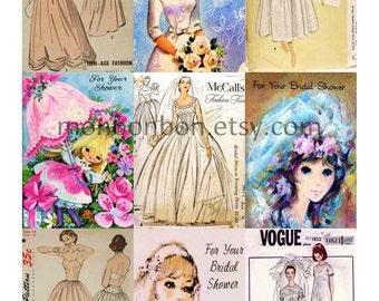 Vintage Wedding Dress Sewing Patterns and Cards Digital Collage Sheet - DIY Printables - INSTANT DOWNLOAD