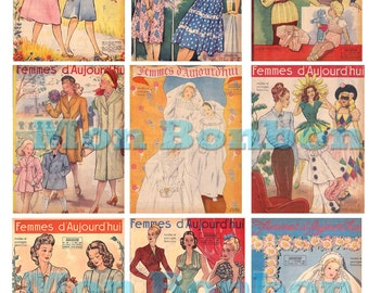 Vintage Fashion Magazine Covers Digital Download Collage Sheet - INSTANT DOWNLOAD