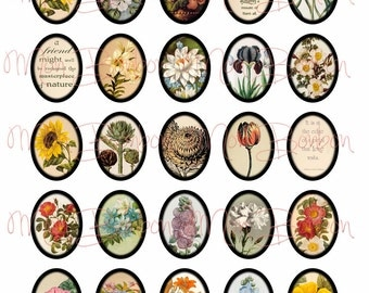 Vintage Botanical Floral Collage Sheet-  sized 30x40 mm Ovals - Digital you Print jewelry supplies - INSTANT DOWNLOAD
