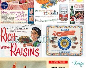 Vintage Retro Magazine Foods Ads No.4 Ephemera Digital Collage Sheet - DIY Printable - INSTANT DOWNLOAD