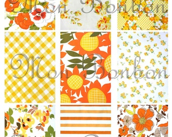Orange Floral Shabby Retro Fabric Backgrounds Digital Collage Sheet  No. 121 - DIY Printable - INSTANT DOWNLOAD