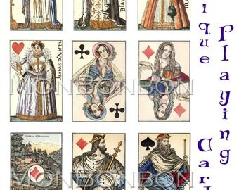 Digital Download 18 Vintage Antique Royalty Playing Cards ATC ZNE ACEO  clip art printables