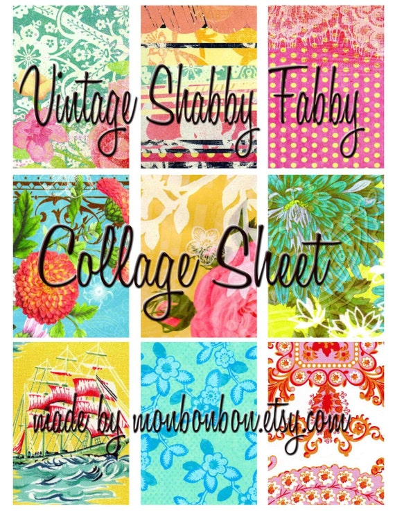 ATC Digital Collage Sheet of Bright Shabby Fabby Flea Market Punchy Colors - INSTANT DOWNLOAD