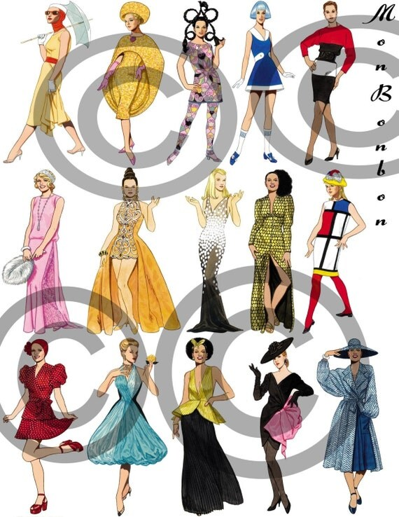 Digital Download of 15 Fashion -istas from the 50's to 2000 Clip Art Ephemera - INSTANT DOWNLOAD
