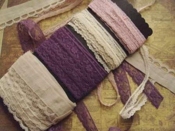 12 yds of Vintage Delicate Lace Ribbon Trims Edging for altered art, scrapbooking, crafting, etc.