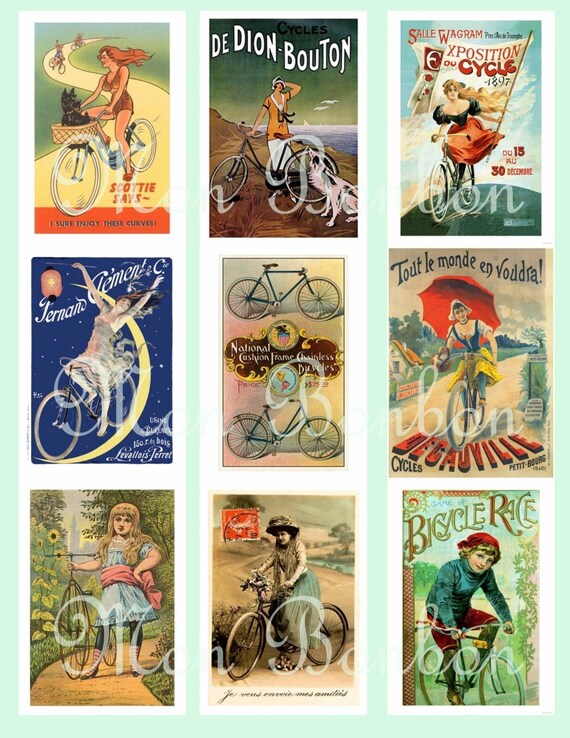 Vintage Retro Bicycle AtC size Digital Download Collage Sheet - DIY Printable - INSTANT DOWNLOAD