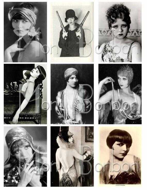 Digital Collage Sheet of Vintage Louise Brooks, Clara Bow, Flapper, Roaring 20s - DIY Printable - INSTANT DOWNLOAD