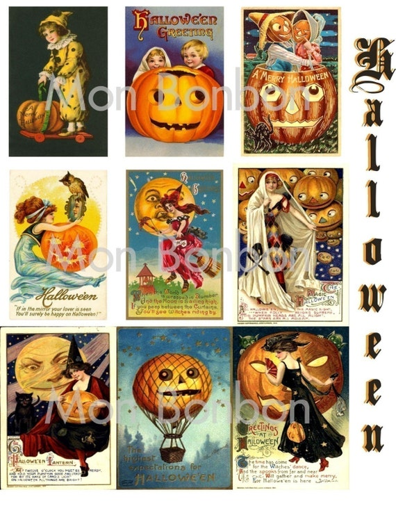 18 Digital Download Vintage Halloween Cards  2.5 x 3.5 inches - DIY you print - INSTANT DOWNLOAD