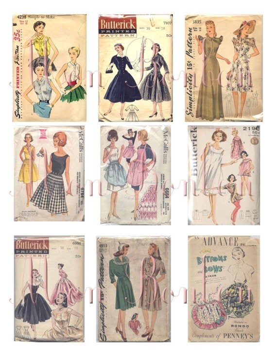 Vintage Retro Ladies Dress and Clothing Sewing Patterns Collage Sheet - INSTANT DOWNLOAD