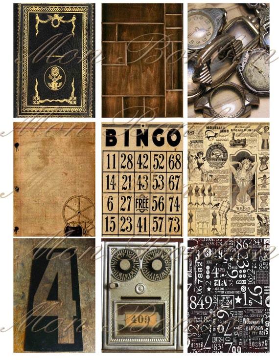 Steampunk Digital Collage Sheet of Vintage Background Images - DIY Printable - INSTANT DOWNLOAD