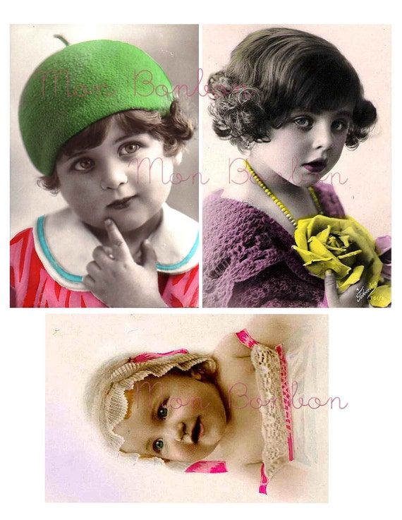 Six Digital Vintage 4x6 Hand Tinted Childrens Headshots Photos Collage Sheet - DIY Printables - INSTANT DOWNLOAD