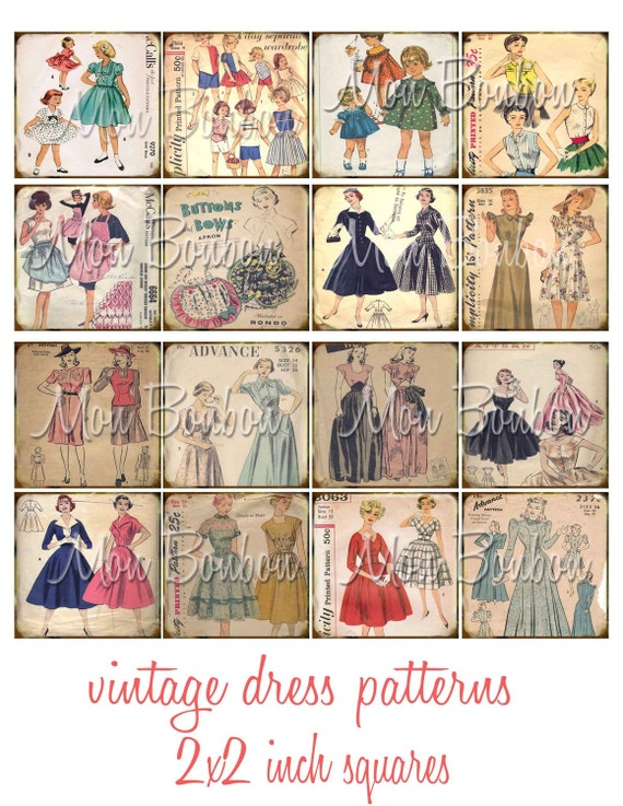 Vintage Sewing Dress Patterns 2x2 Inchies Digital Download Collage Sheet - INSTANT DOWNLOAD