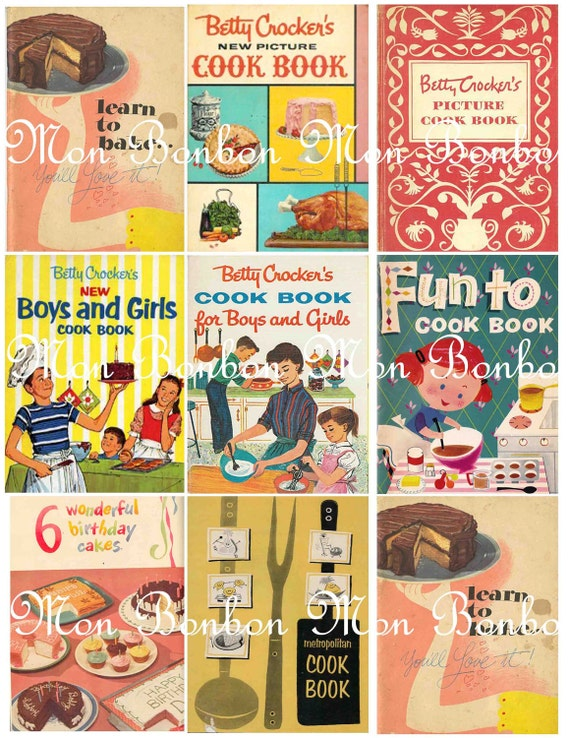 Vintage Retro Cook Books Digital Collage Sheet - INSTANT DOWNLOAD