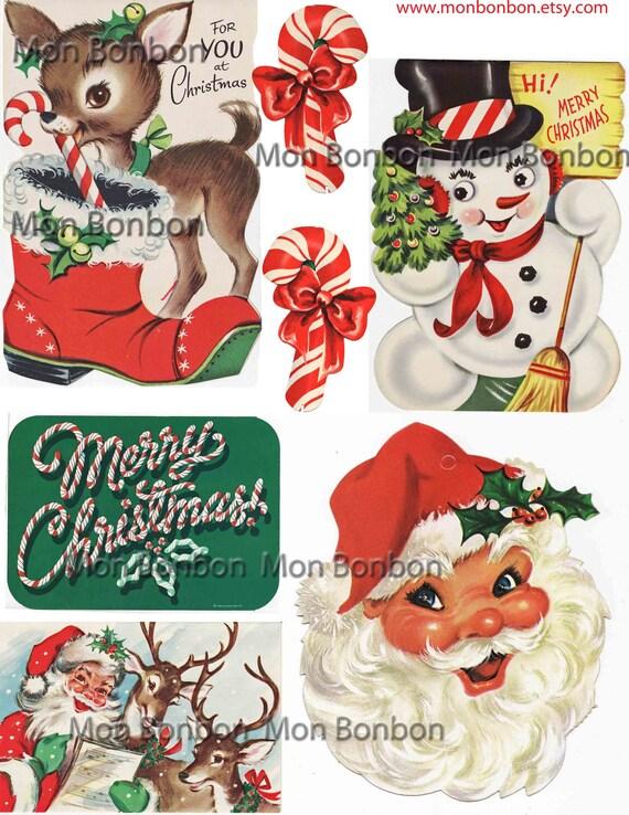 Digital Collage Sheet of Vintage Retro Christmas Card Images No. 3 - DIY Printable - INSTANT DOWNLOAD