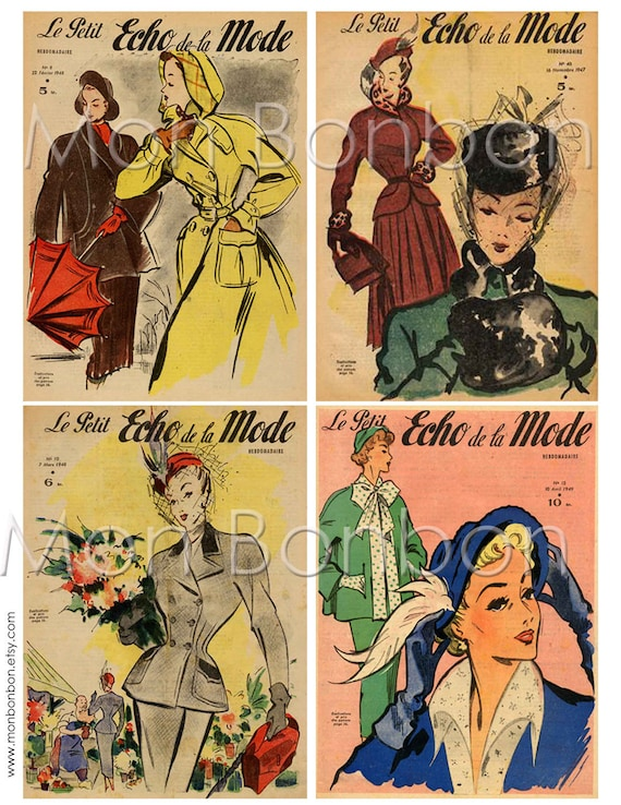 Vintage French Fashion Magazine Covers Digital Collage Sheet Set No.1 - INSTANT DOWNLOAD