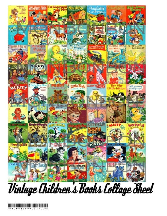 Digital download 63 vintage children 39 s books collage sheet for Jewelry books free download