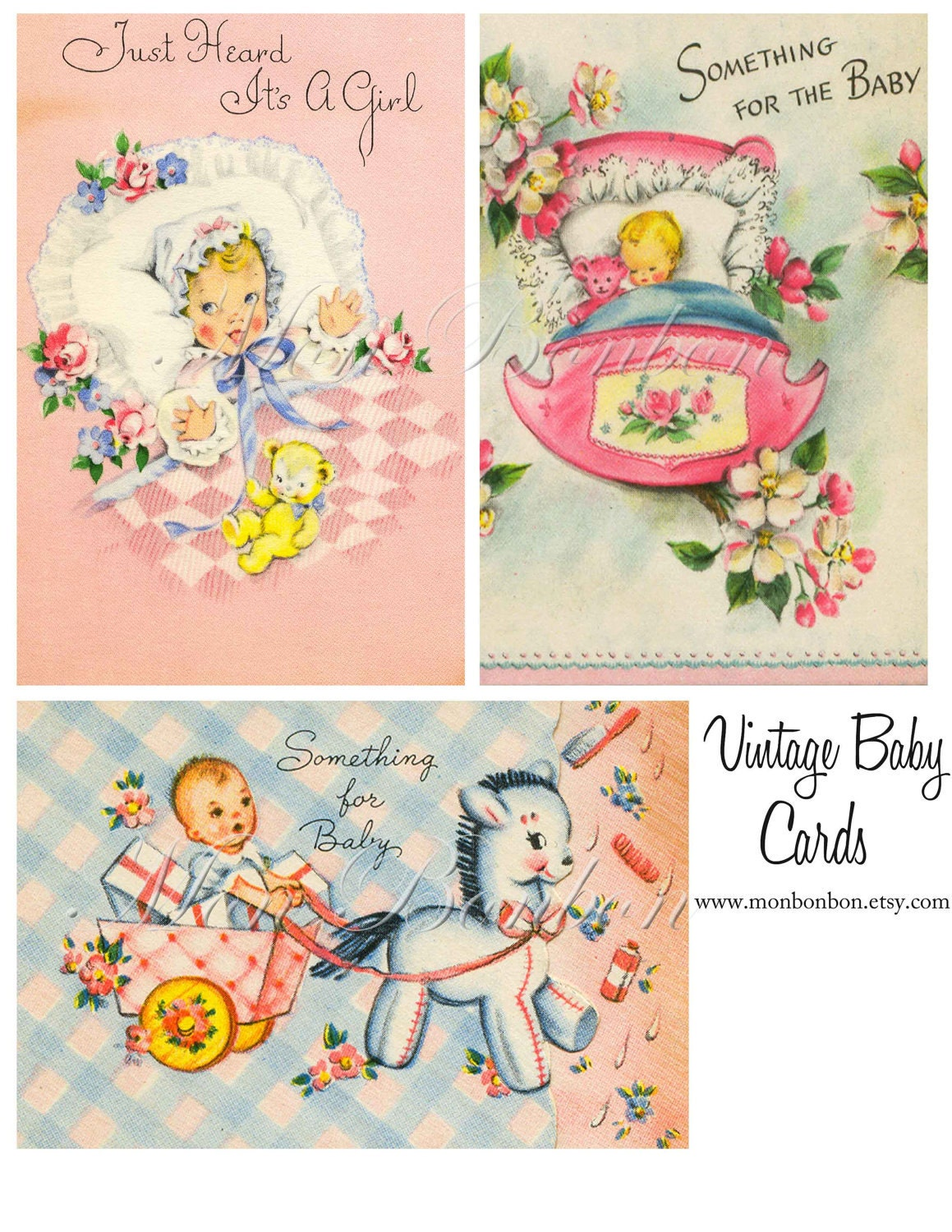 Digital Vintage Baby Cards Resized to 4x6 Super Cute for paper – Vintage Baby Announcements