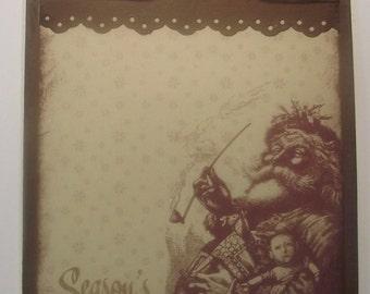 Handmade Christmas Santa greeting Card Rustic brown distressed