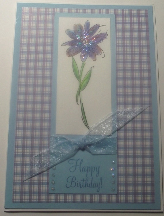 Happy Birthday Greeting Card Pretty Floral Light Blue and purple