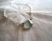 Tiny moss aquamarine necklace sterling silver - Freeform Makoa