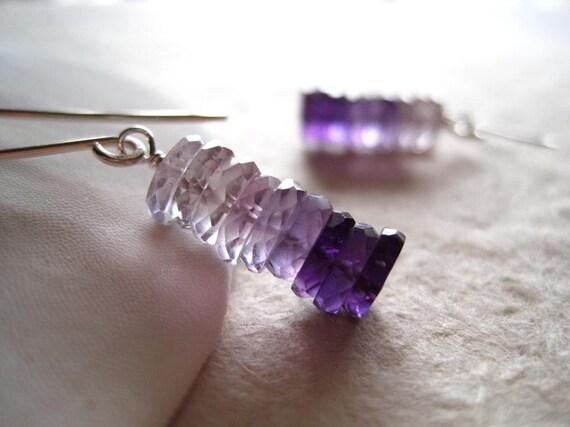 Amethyst earrings silver amethyst jewelry - Lavender Ombre