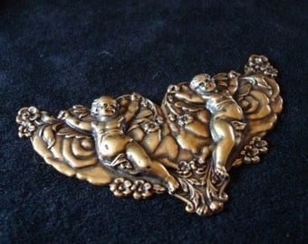 Angels Amoung Us Brass Stamping, Drilled For Jewelry Supply, Pendant, 3 1/2 Inch Of Brass Ox BEAUTY