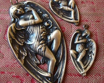 VICTORIAN ANGEL PENDANT And Earring Supply Set, Professionally Plated and Sealed