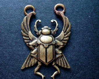 Jewelry Supplies, Necklace Connector, Jitter Bug BEETLE PENDANT, 2 Way Connector, Great SteamPunk Supply